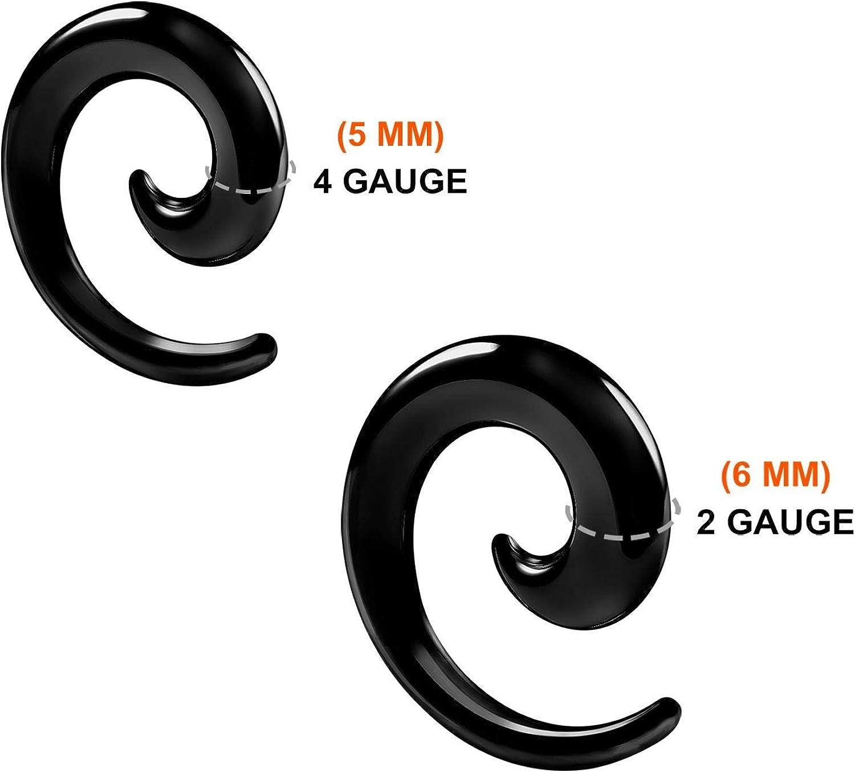BanaVega 4PCS Flesh Spiral Ear Stretcher Plugs Flesh Earring Lobe Gauge Piercing Jewelry See More Sizes