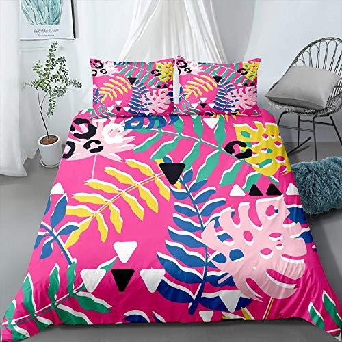 Prinbag Tropical Plants Bettwäsche Set Rainforest Bettbezug Kissenbezug Home Quilt Cover Jungen Mädchen Cartoon Bettwäsche 220x240cm