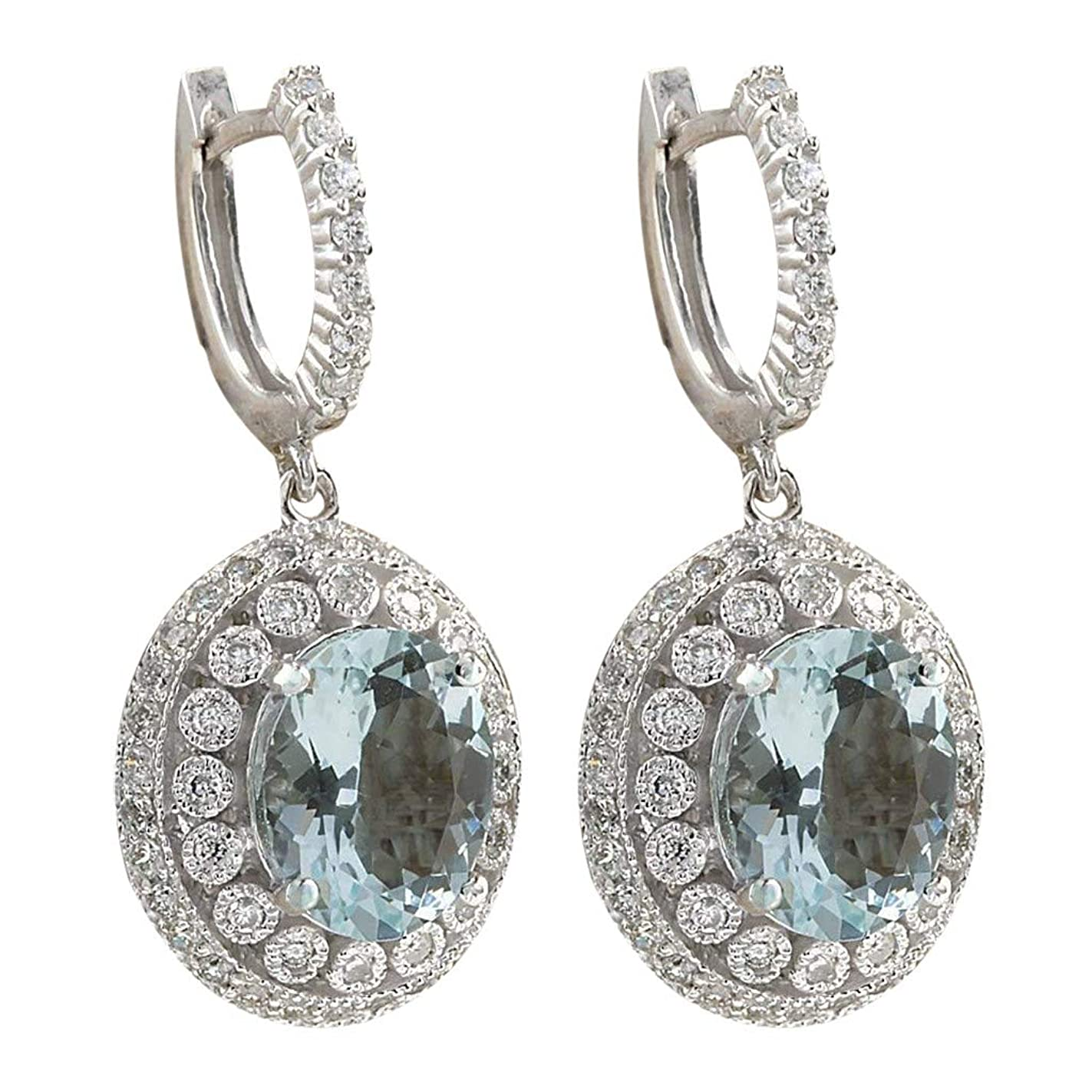 グループしわジュニアNicircle オパールイヤリング ファッション女性のアクアマリン宝石ブライダルイヤースタッドフープブラブライヤリング シルバー Fashion Women Aquamarine Gemstone Bridal Ear Stud Hoop Dangle Earring