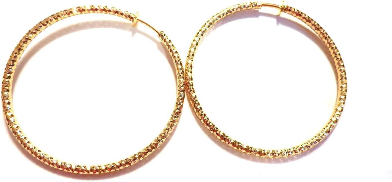 Clip-on Earrings Gold Tone Hoop Earrings Hypoallergenic 3 inch Textured Hoops