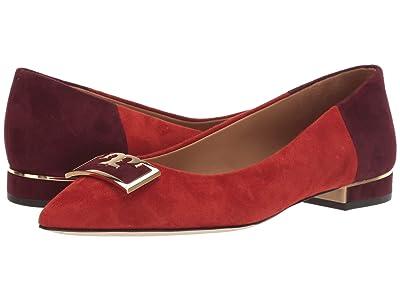 Tory Burch 20 mm Gigi Pointy Toe Flat (Bright Lava/Malbec) Women