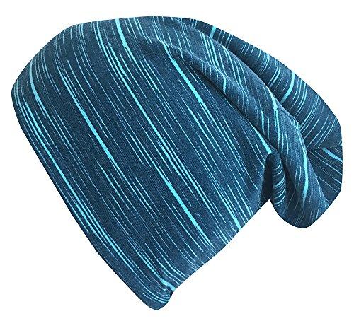 WOLLHUHN ÖKO Long Beanie / Wendemütze, ganzjährig, LINES petrol / türkis, innen einfarbig grau, für Jungen und Mädchen (aus Öko-Stoffen, bio), 20170713, Größe M: KU 51/53 (ca 3-5 Jahre)