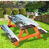 Mantel de mesa y banco de picnic para paisaje, estilo antiguo de Quebec City Skyline, mantel de borde elástico, 70 x 172 pulgadas, juego de 3 piezas para camping, comedor, exterior, parque, patio