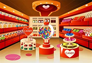 AOFOTO 6x4ft Candy Shop Backdrop Candies Shelf Game Recreational Machine Photography Background Baby Shower Kids Children Happy Birthday Celebration Video Display Photo Booth Prop Store Wallpaper