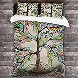 HSBZLH Nature and Love Art Juego de Fundas de Almohada y sábanas de Colores de fácil Cuidado, 3 Piezas, Juegos de edredón de Dormitorio para Mujeres y Hombres