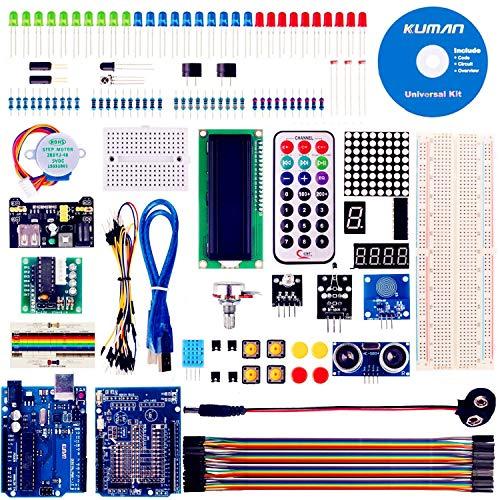 kuman Más Completo y Avanzado Mega Starter Kit para R3 con Guías Tutorial Detallada, MEGA2560, Mega328,5V Motor Paso a Paso, Kit con Placa