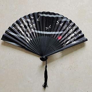 Abanico Plegable,La Mujer Ventilador De Bambú Hueco Negro Borla Plegado Brisa Del Ventilador Ventilador Plegable De Bambú,Adecuado Para Boda Regalo Dama Danza Ventilador Ventilador Plegables Portá