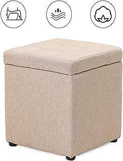 MAHFEI Storage Ottoman Footstool Change Shoe Bench Creative Sofa Bench Osman Sponge Cushion Comfortable and Breathable Pine Frame Living Room, 8 Colors (Color : Beige, Size : 30x30x35cm)