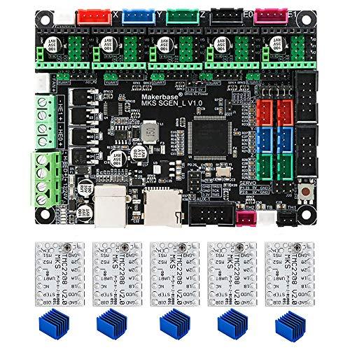 BZ 3D MKS SGen L V1.0 32bit Controller-Platine Uart/SPI Kompatibel mit Marlin2.0 Smoothieware +5 STÜCKE TMC2208 V2.0 Support TFT24/28/32/35 (Board+TMC2208*5)