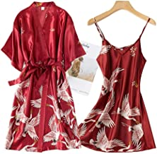 Sexy Nachthemd Voor Dames,2 Stuks Satijn Zachte Rayon Nachtkleding Rood Nachthemd Kimono Sleepshirts Losse Casual Hemdje B...