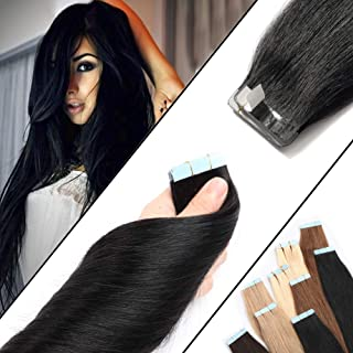 Tape in Human Hair Extension Dark Black 20 Inch 100% Remy Hair Bonding Double Sided Tape Professional Straight Seamless Skin Weft 40Pcs/100g (20'',#1) + 20pcs Free Tapes