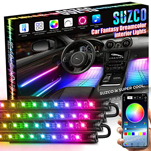SUZCO 4PCS Car Rainbow Interior Lights, Car LED Strip Light Waterproof with 210-Modes APP Smart Controller, Multi DIY Color Music Under Dash Car Lighting Kit with Car Charger, DC 12V