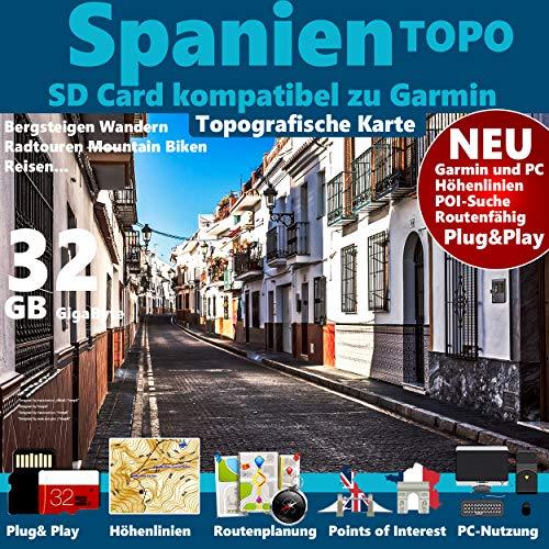 Spanien Garmin Karte Outdoor Topo GPS auf 32 GB microSD. Topografische GPS Freizeitkarte für Fahrrad Wandern Touren Trekking Geocaching & Outdoor. für Garmin Navigationsgeräte, PC & MAC