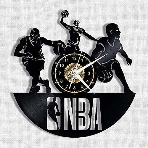 WYDSFWL Orologio da Parete NBA Basketball Vinyl Record Orologio da Parete Nostalgic Silhouette Record Handmade Art Decorazione Camera da Letto Regalo 12 Pollici-No LED -con LED