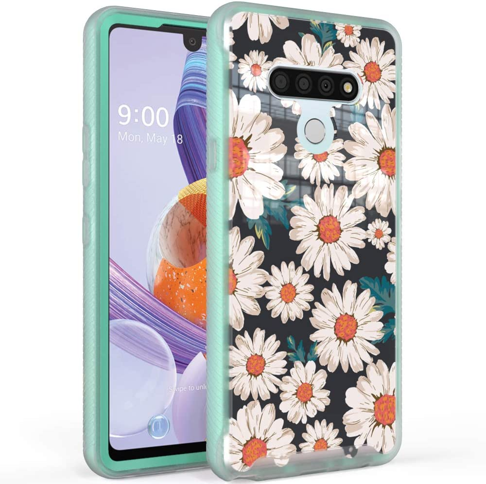 WOGROO Compatible with LG Stylo 6 Case,Fashion Cute Floral Pattern for Girls and Women,Hybrid Full Body Protective Soft TPU Bumper Shockproof Phone Cover Case, Daisy