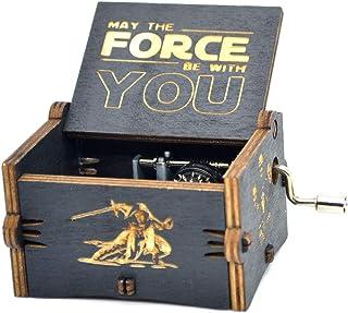 Y&S Star Wars - Caja de música de madera grabada para regalo musical con manivela de invierno para niños, madera, Star Wars