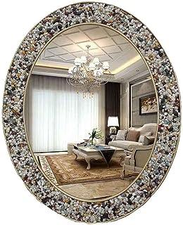 LLRYN European Style Retro Bathroom Mirror, Colorful Stone Oval Cosmetic Mirror, Wall Mounted Bathroom Cosmetic Mirror