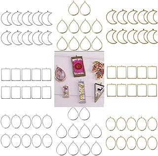Yalulu 80 pcs Geometric Frame Pendants Open Back Bezel Pendants Hollow Mold Geometric Hollow Frame Pendant DIY Crafts for Resin Earrings Necklace Bracelet