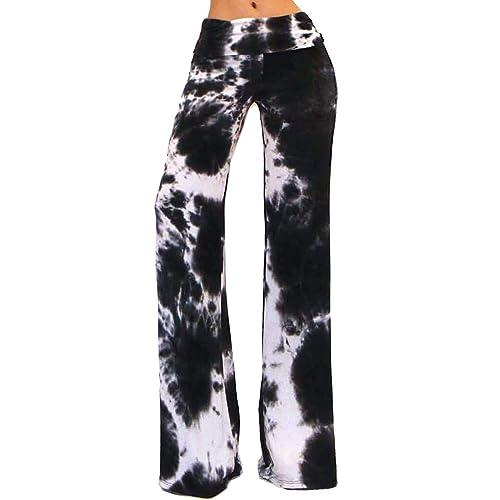 b041fdc1691 Vivicastle Women s USA Fold Over High Waist Wide Leg Long Palazzo Pants
