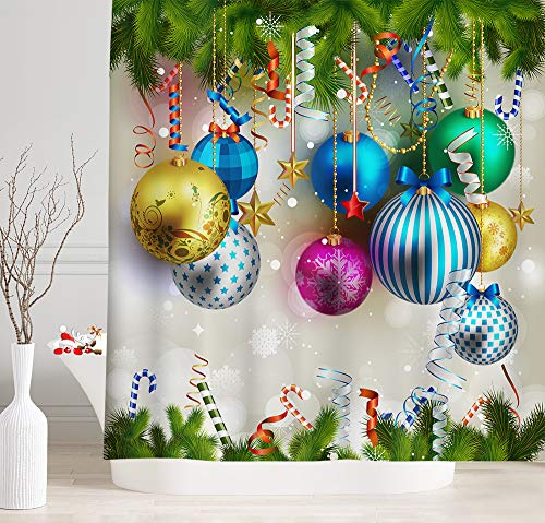 NYMB Christmas Shower Curtains, Christmas Ball and White Candy Canes Hanging on Pine Tree Branch for Christmas Ornament, Waterproof Fabric Xmas Shower Curtain Sets Bathroom Accessories, 69X70 inches