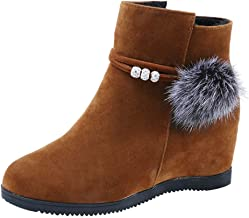 Londony ♥‿♥ 2018,Women's Side Zipper Suede Hairball Slip On Wedge Mid Rain Boot Ankle Boots Martin Shoes