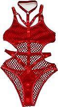 Sexy Goth Bondage Bodysuit Fishnet Lingerie Bodysuit for Women (M,Red)