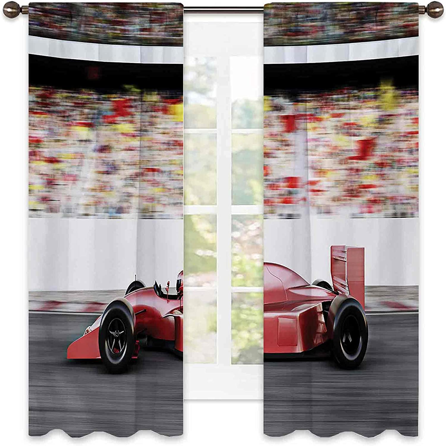 Cars Heat New products world's highest Choice quality popular Insulation Curtain Sports Theme Race Car Side Red Vie