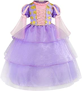Little Girl Princess Rapunzel Costume Mesh Sleeve Fairy Tale Cosplay Fancy Dress Up Christmas Birthday Party Long Tutu Gown