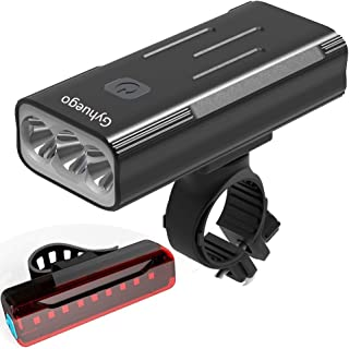 Bike Light USB Rechargeable, 4000 Lumen Bicycle Lights Front and Back, Bright Led Bike Headlight and Taillight with Power ...