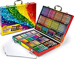 Includes 1 Crayola Inspiration Art Case Coloring Set with 64 crayons, 20 short colored pencils, 40 washable markers and 15 large pieces of paper With a place for everything, this crayon and marker organizer helps keep art supplies for kids and adults...