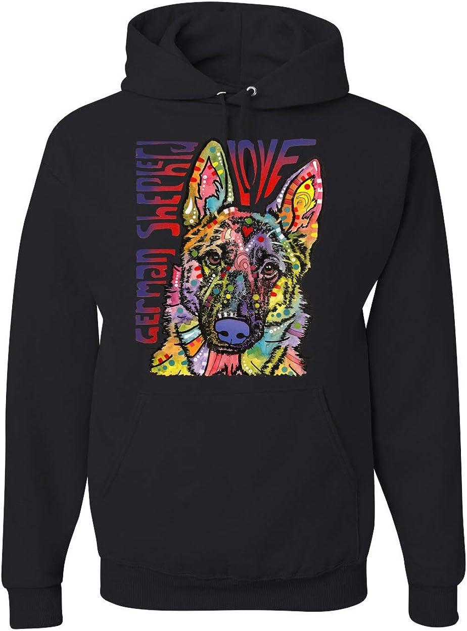 Dean Russo Officially Licensed Colorful German Shepherd Luv Animal Lover Unisex Graphic Hoodie Sweatshirt