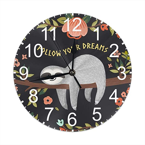 JCmemory Flower Sloth Follow Your Dream Quotes 9 8 Inches Round Wall Clock Silent Non Ticking Battery Operated Wall Clocks 9 8 Inches