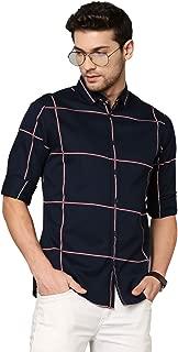 Dennis Lingo Men's Checkered Navy Slim Fit Cotton Casual Shirt