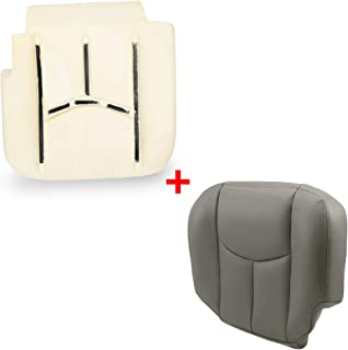 ECOTRIC Front Driver Seat Bottom Foam Lower Cushion Pad & Gray Seat Cover for 2003 2004 2005 2006 Tahoe, Silverado, Suburban & Yukon with Power Control seat