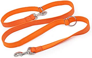 Mycicy Heavy Duty Double Ended Nylon Dog Leash- Hands Free Dog Training Lead for Small/Medium/Large Pets- Adjustable 4Ft ~ 6Ft Length