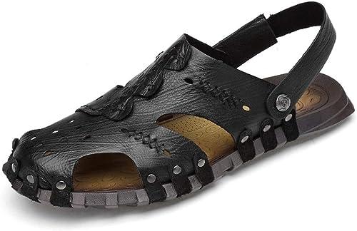 ANNFENG Mode été en Plein Air Sandales pour Hommes Décontracté Léger Plage Slipper Chaussures Slip on Style Ox en Cuir Creux Exquise Couture Fermé Toe (Couleur   Noir, Taille   38 EU)