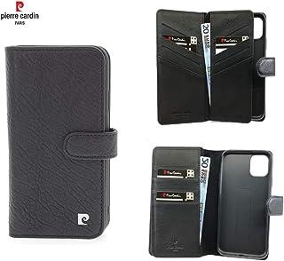 Pierre Cardin Leather Wallet series booktype cover voor de Apple iPhone 11 - Zwart - Echt Leer