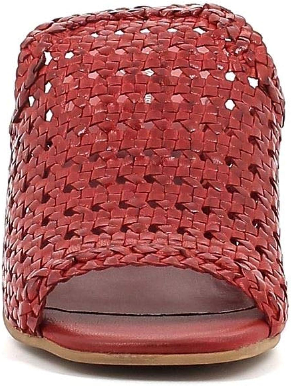 MNG Ciabatte in Pelle Intrecciata con Tacco Largo Scarpe Donna Colore Rosso