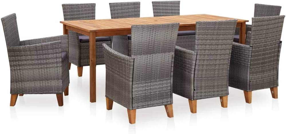 9 Pieces Patio Dining Set Outdoor Cheap mail order shopping 8 A Furniture Special sale item Rattan with