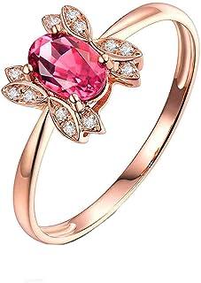 Daesar Anelli Oro Rosa Donna 18K, Anello Promessa Matrimonio Anelli Tormalina 0.5ct Ovale Motivo A Farfalla e Diamante 0.0...