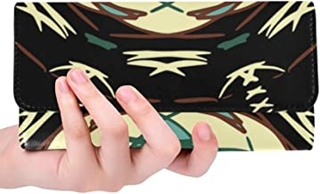 Unique Custom Circle Vector Abstract Design Women Trifold Wallet Long Purse Credit Card Holder Case Handbag