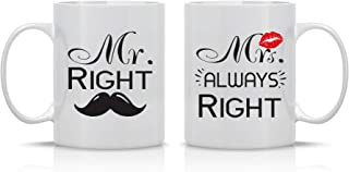 Mr. Right Mrs. Always Right - Wedding Gift for Couple - Funny Engagement Gifts - Anniversary Present - 11oz Ceramic Coffee Mug Set by Funnwear - coolthings.us
