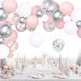 Pink Balloon Arch Kit White Silver Balloons Garland Kit 100pcs Confetti Metallic Balloons Arch Set with 16ft Tape Strip & ...