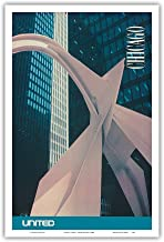 Chicago, Illinois - Calder's Flamingo Sculpture - United Air Lines - Vintage Airline Travel Poster c.1980s - Master Art Print 12in x 18in