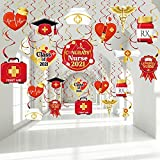 30 Pieces Nurse Graduation Party Decoration, Red and Gold Nurse School Medical Graduation Hanging Swirl RN Graduation Party Foil Ceiling Streamers for Nurse Class of 2021 Grad Party Supplies