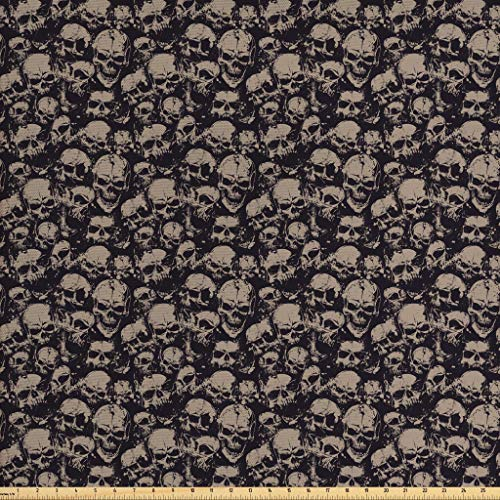 Ambesonne Skull Fabric by The Yard, Grunge Scary Skulls Sketchy Graveyard Death Evil Face Horror Theme Design, Decorative Fabric for Upholstery and Home Accents, 1 Yard, Charcoal Grey
