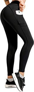 Meetjoy High Waisted Yoga Pants with Pockets for Women - Tummy Control Workout Leggings
