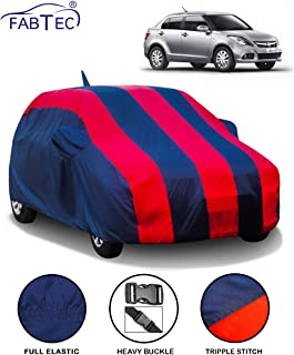 Fabtec Car Body Cover for Maruti Swift Dzire (2012-2016) with Mirror Antenna Pocket (Red & Blue)