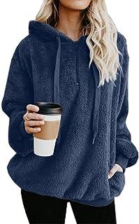 Asskdan Women's Teddy Fleece Long Sleeve Fuzzy Hoodie Hooded Sweatshirt Drawstring Pullover Fuzzy Velvet Sweater Outwear