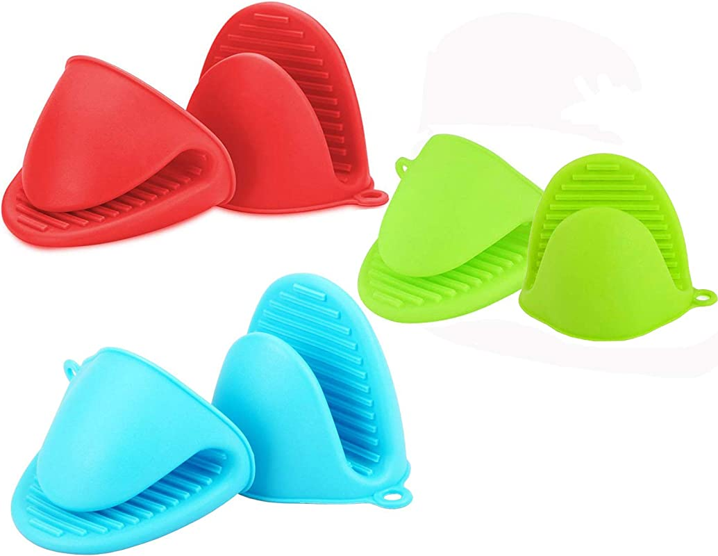 MEELLION Oven Mitts Heat Resistant 3 Pairs Green Blue Red Silicone Oven Gloves Cooking Pinch Mitts Potholder For Kitchen Cooking And Baking